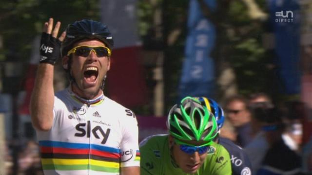 20e étape (Rambouillet - Paris): emmené par le maillot jaune Bradley Wiggins, Mark Cavendish s'adjuge la dernière étape de cette édition 2012.