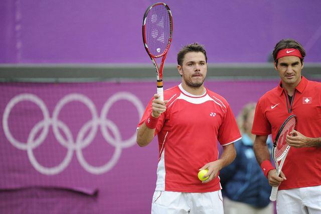 Wawrinka quitte définitivement le tournoi olympique. Federer poursuit lui sa route en simple. [JEAN-CHRISTOPHE BOTT - Keystone]