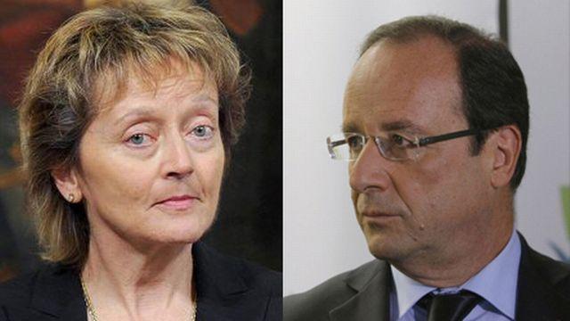 Eveline Widmer-Schlumpf et François Hollande devraient notamment discuter de questions financières et fiscales. [Ettore Ferrari/Jacques Brinon - Keystone]