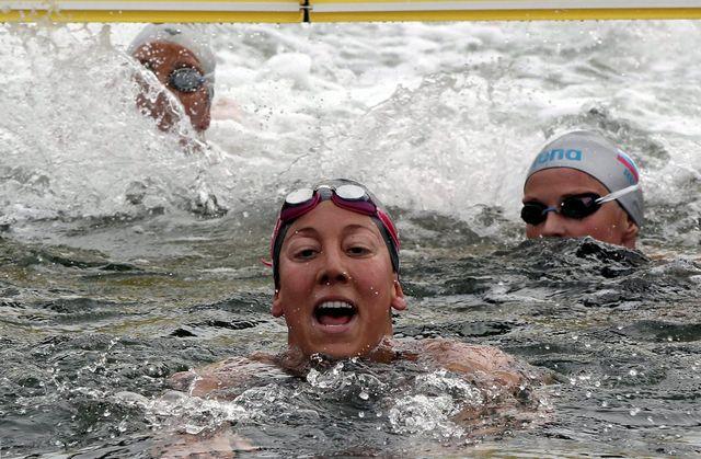 La bagarre risque d'être féroce entre la Genevoise et ses concurrentes dans les eaux du lac de Hyde Park.  [BARBARA WALTON   - Keystone]