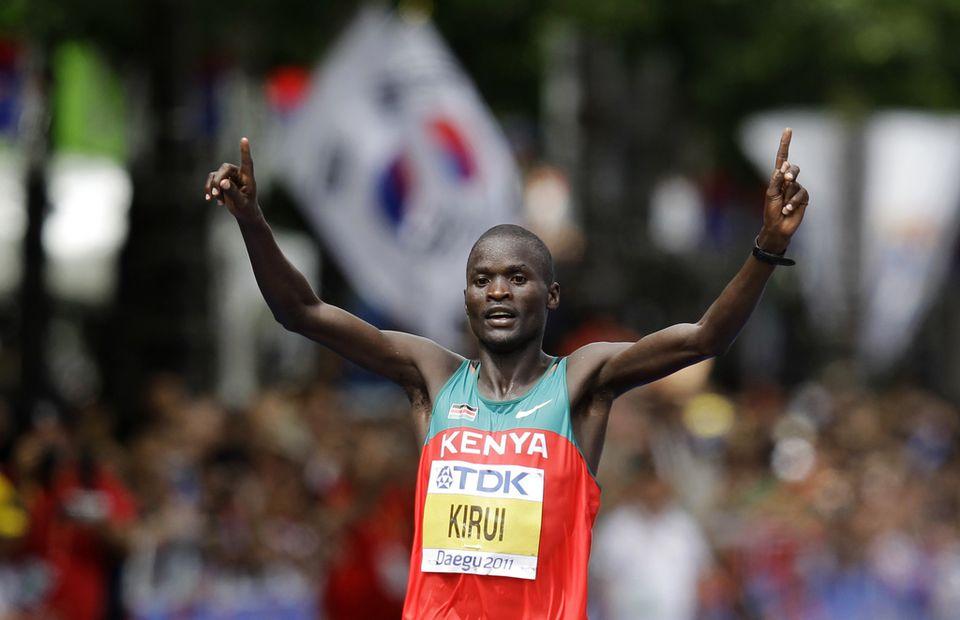 Abel Kirui, double champion du monde, s'annonce comme le grand favori du marathon olympique. [Kevin Frayer - Keystone]