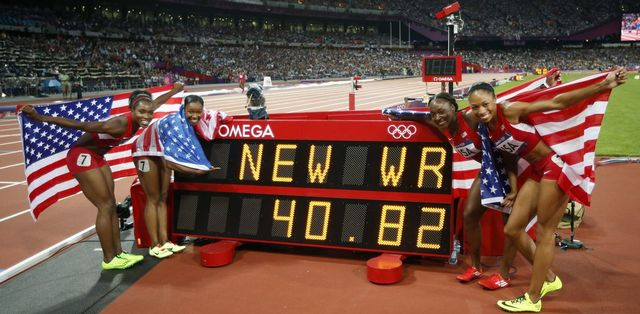 Le relais américain, composé de Tianna Madison, Allyson Felix, Bianca Knight, Carmelita Jeter, a pulvérisé l'ancien record du monde. [Matt Dunham - Keystone]
