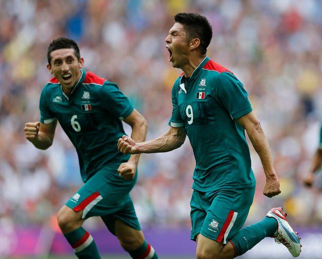 Oribe Peralta peut exulter. Grâce à son doublé, le Mexique devient champion olympique. [Jorge Silva - Reuters]