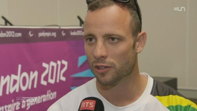Jeux Paralympiques de Londres: interview d'Oscar Pistorius, athlète sud-africain de sprint amputé des deux tibias