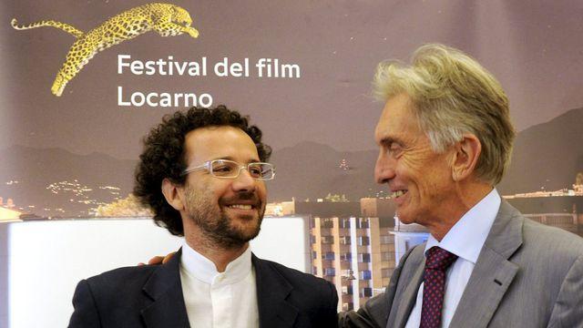 Carlo Chatrian et Marco Solari, ce 4 septembre 2012 à Locarno. [Karl Mathis - Keystone]