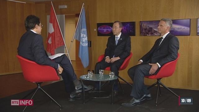 10 ans depuis l'entrée de la Suisse à l'ONU: interview de Ban Ki-moon, secrétaire général de l'ONU en compagnie de Didier Burkhalter, Conseiller fédéral
