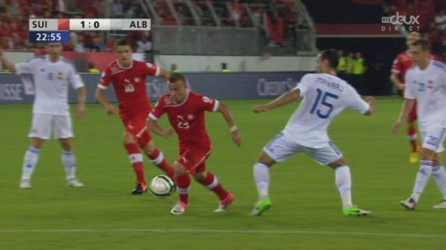 Qualifications (zone Europe). Gr. E (2e journée): Suisse - Albanie. 23e minute: Shaqiri profite d'un contre favorable pour aller affronter, seul, le gardien et pour inscrire le 1-0