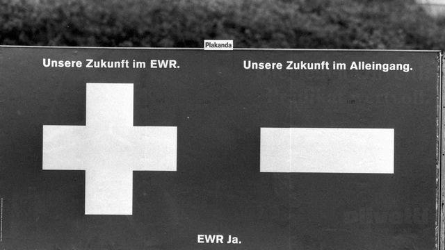 Affiche pour le vote sur l'EEE le 06 décembre 1992. [Image d'archive - Keystone]