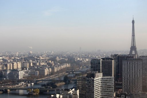 Vue de Paris un jour de forte pollution
