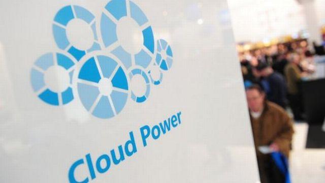 """Logo de """"cloud computing"""" sur le stand Microsoft au salon CeBIT d'Hanovre, le 2 mars 2011 [AFP]"""