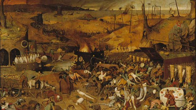 Le Triomphe de la mort, de Brueghel l'ancien, annonciateur du thème majeur des films de zombies réalisés depuis la fin des années 1960, soit la conquête de la terre par des revenants qui déciment les vivants, selon une analyse de Wikipédia. [© Museo Nacional del Prado]