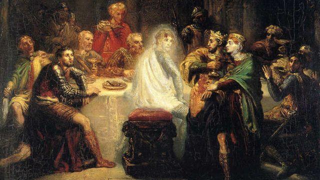 """Dans ce tableau de Théodore Chassériau, """"Le spectre de Banquo"""" (1854), on voit le fantôme de Banquo qui revient hanter Macbeth, le protagoniste de la pièce de théâtre éponyme de William Shakespeare. [Christian Devleeschauwer - © Reims, musée des Beaux-arts]"""