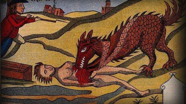 Toile du XVIIIe, d'auteur inconnu, représentant la bête du Gévaudan dévorant une femme.