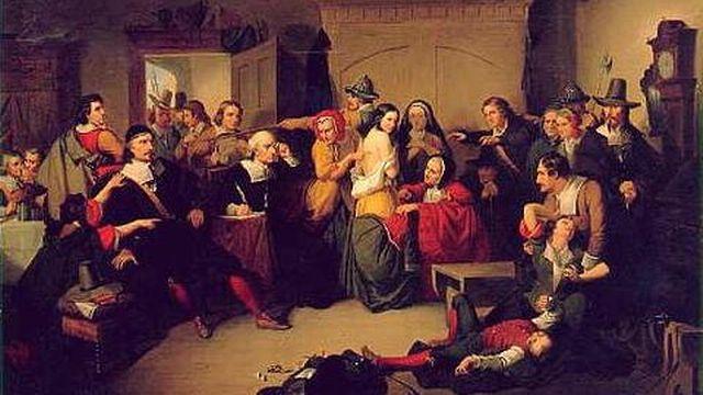 Cette peinture de Tompkins Harrison Matteson de 1853 représente le procès des sorcières de Salem.
