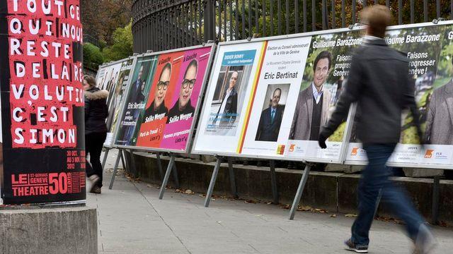 Campagne publicitaire des candidats à l'exécutif de la Ville de Genève. [Martial Trezzini - Keystone]