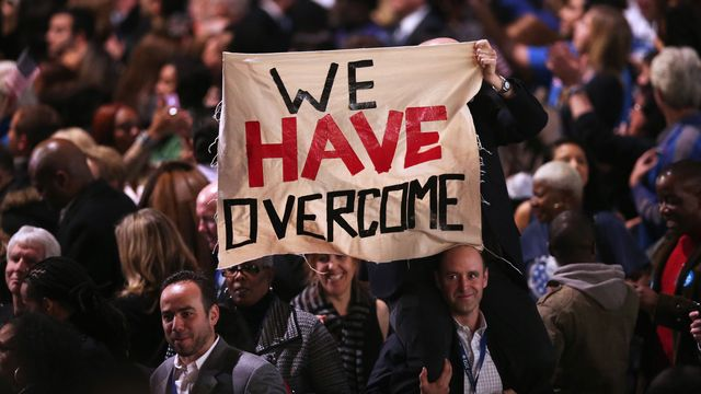 Les supporters de B. Obama attendent son intervention à son Q.G. de Chicago. [Win McNamee - Getty Images/AFP]