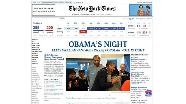 "La ""homepage"" du New York Times. [www.nytimes.com]"