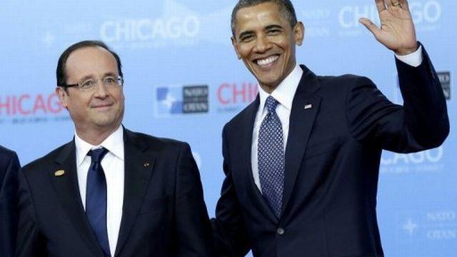 Le président américain Barack Obama et son homologue français François Hollande au sommet de l'OTAN le 20 mai 2012 à Chicago [AFP]