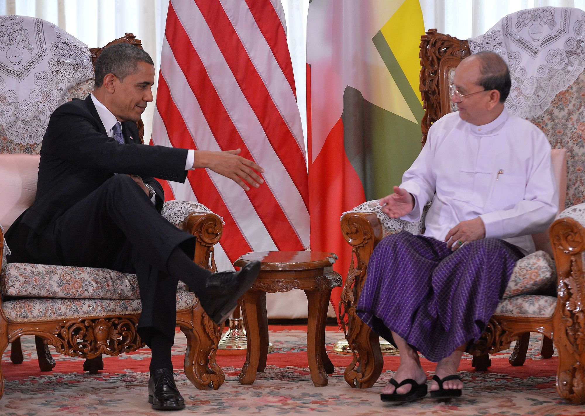Barack Obama a rencontré son homologue Thein Sein.