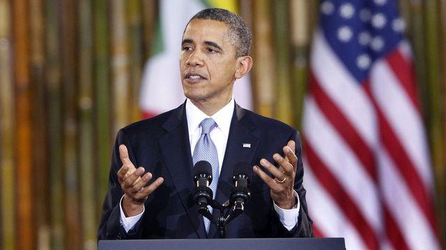Barack Obama lors de son discours à l'université de Rangoun. [Nyein Chan Naing - Keystone]