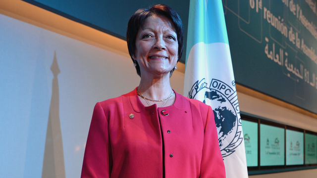 Mireille Ballestrazzi, nouvelle présidente d'Interpol. [Andreas Solaro - AFP]