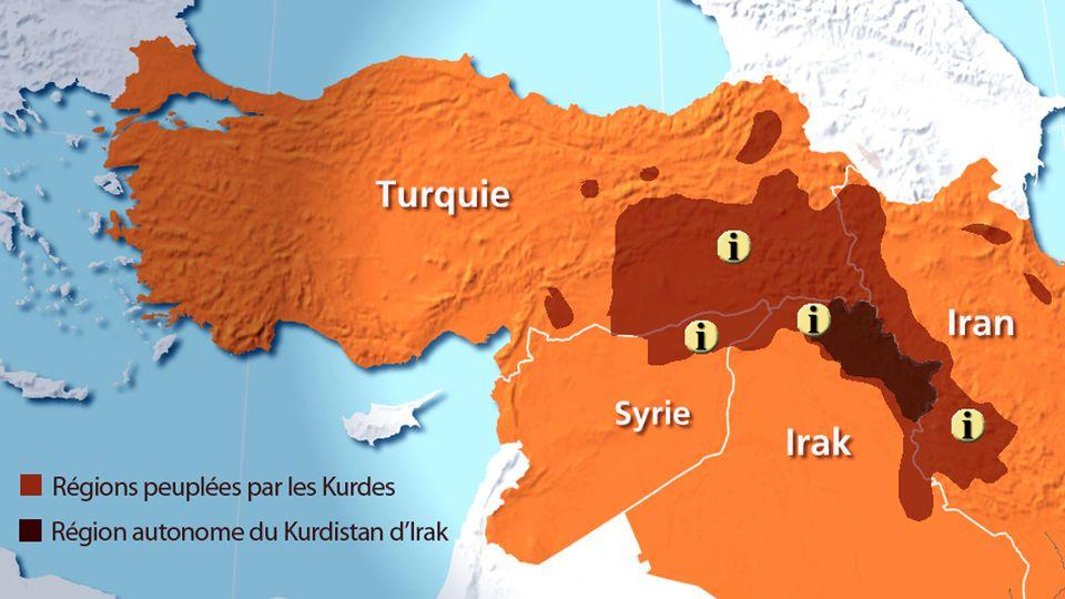 Carte du Kurdistan. [RTS]