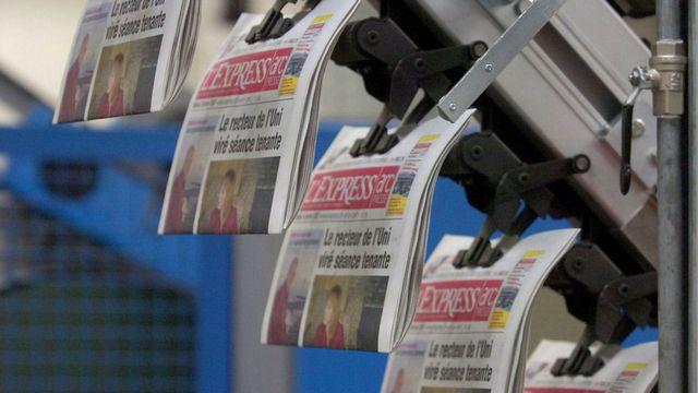 """Le capital de la SNP, éditrice des quotidiens """"L'Express"""" et """"L'Impartial"""", est détenu majoritairement par le groupe français Hersant. [Sandro Campardo - Keystone]"""
