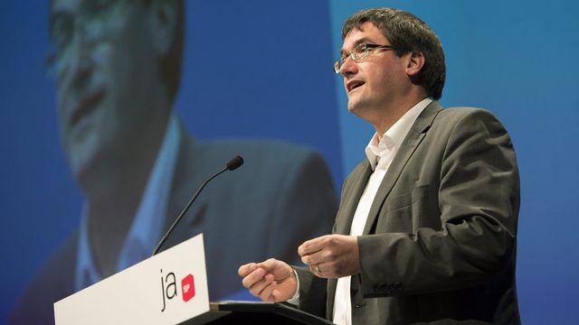 Le président du PS Christian Levrat prononce son discours devant l'assemblée des délégués à Thoune. [Peter Schneider - Keystone]