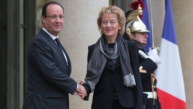La conseillère fédérale Eveline Widmer-Schlumpf a rencontré le président français François Hollande à l'Elysée. [Michel Euler - Keystone]