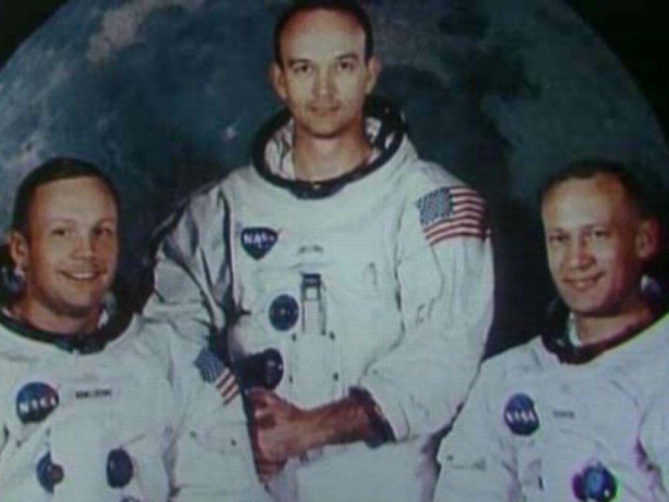 L'équipage de la mission Apollo 11. De gauche à droite: Neil Armstrong, Michael Collins et Buzz Aldrin. [RTS]