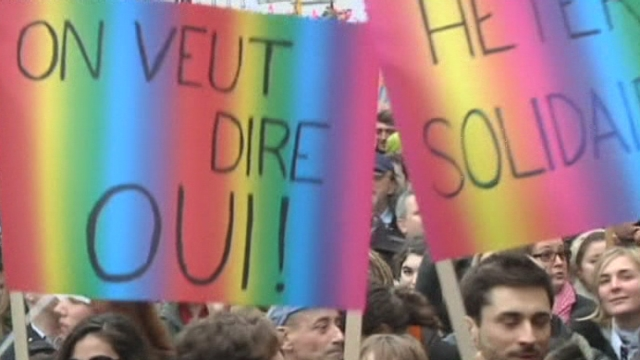 Manifestation pour le mariage homosexuel à Paris