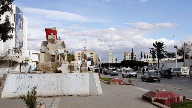 Monument à la mémoire de Mohamed Bouazizi à Sidi Bouzid. [Khalil - AFP]