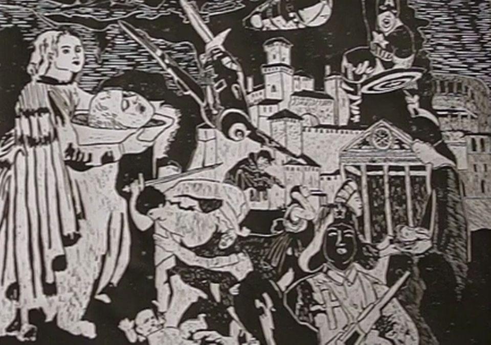 """Un des 7 tableaux de """"La Nativité selon Burland"""". [Capture d'écran]"""