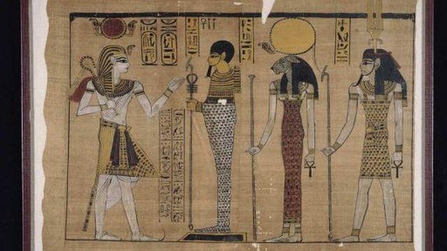 Reproduction d'un Papyrus représentant le règne de Ramsès III (1184-1153 AC), exposé à Venise en 2002/2003 [AFP]
