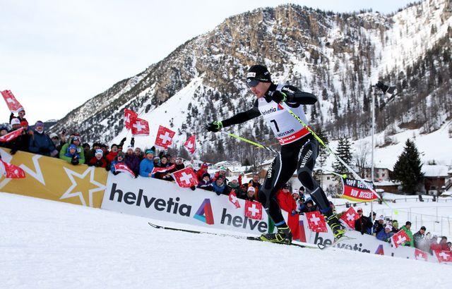 La station grisonne de Val Muestair s'est montrée sur son meilleur jour pour accueillir le Tour de Ski.   [Daniel Goetzhaber - Keystone]
