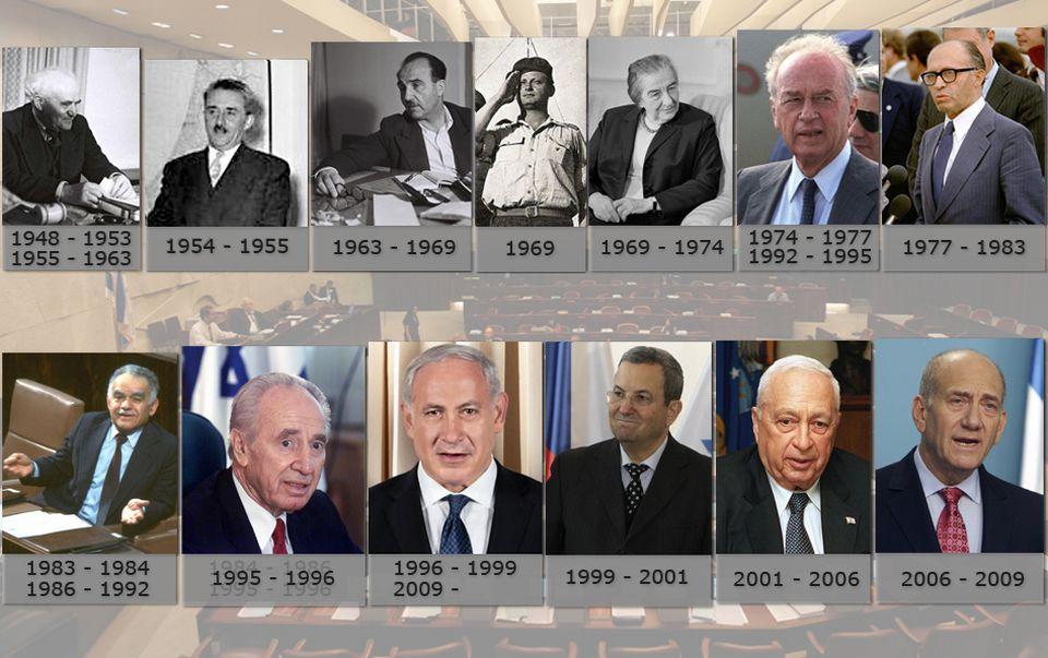 Les premiers ministres israéliens de 1948 à 2012. [RTS]