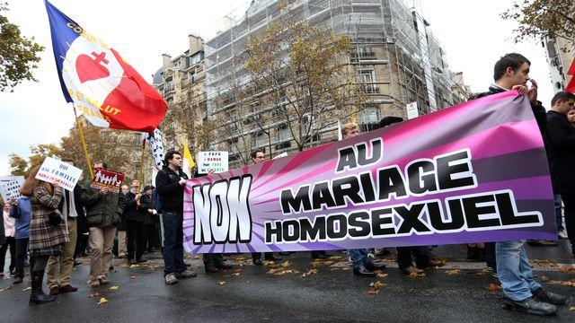 Des chrétiens fondamentalistes avaient déjà manifesté à Paris le 18 novembre 2012 contre le mariage homosexuel. [AFP]