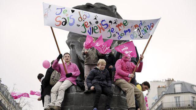 De jeunes manifestants ont également pris part à la mobilisation, ce dimanche 13 janvier 2013 à Paris. [Lionel Bonaventure - AFP]