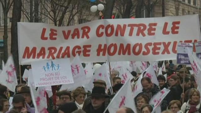 Manifestation contre le mariage pour tous à Paris