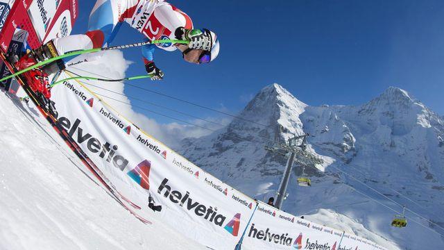 Le skieur suisse Carlo Janka au départ du deuxième entraînement de la course du Lauberhorn à Wengen le 16 janvier 2013. [Alessandro Della Bella - Keystone]