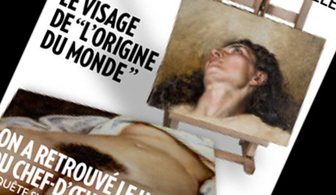 La couverture de Paris Match présentant le visage supposé de L'Origine du Monde.