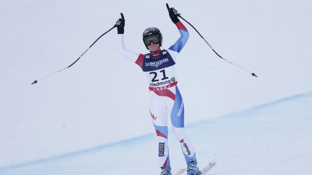 Lara Gut à l'arrivée du super-combiné à Schladming en Autriche, le 8 février 2013. [Matthias Schrader - Keystone]