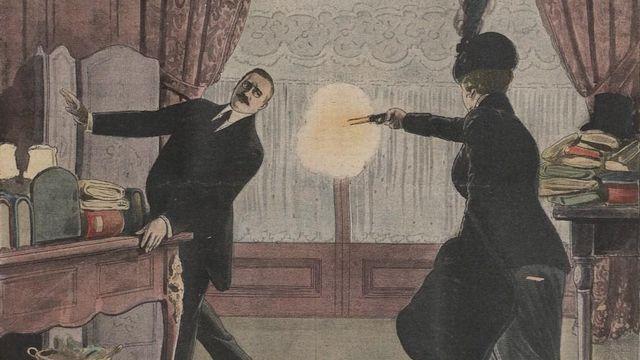 Henriette Caillaux tirant sur Gaston Calmette le 16 mars 1914 [Wikicommons]