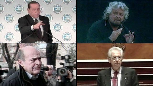 Les quatre principaux candidats aux élections générales italiennes de 2013. Photomontage.