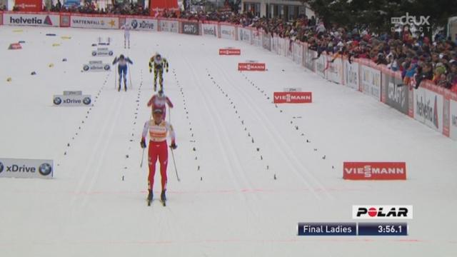 Sprint dames. Finale (style classique): Justyna Kowalczyk (POL), no 1 mondial, bat Marit Björgen (NOR) et les autres très nettement