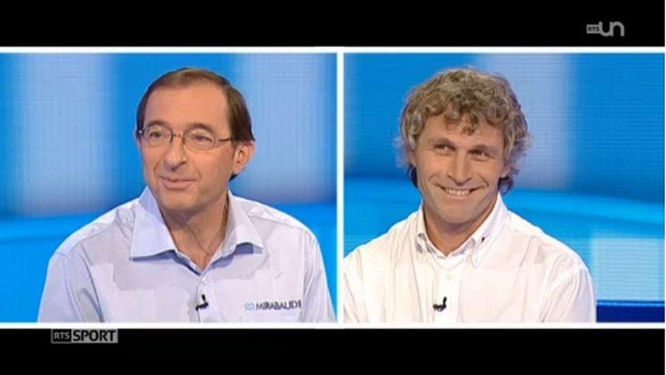 """Dominique Wavre et Bernard Stamm ont partagé """"leur"""" Vendée Globe lors de Sport Dimanche. [RTSsport.ch - RTS]"""