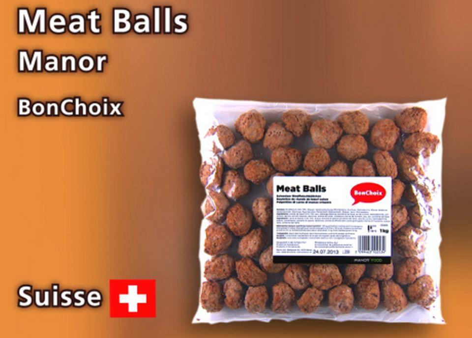 Meat Balls, marque Bon Choix, chez Manor. [Daniel Bron - RTS]