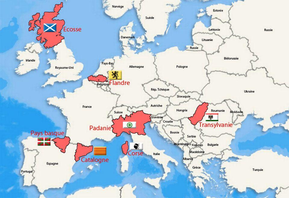 Infographie interactive montrant les régions séparatistes en Europe. [RTS]
