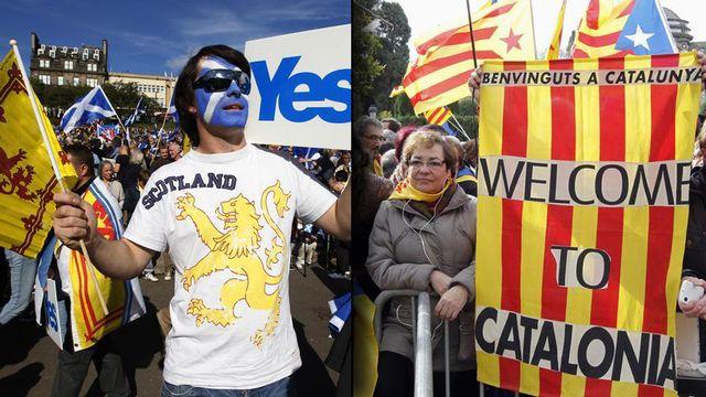 A gauche, un militant pour l'indépendance de l'Écosse lors d'une manifestation à Edimbourg le 22 septembre 2012. A droite, des manifestants pour l'indépendance de la Catalogne dressent des drapeaux catalans à Barcelone le 23 janvier 2013. (Photomontage). [Reuters]