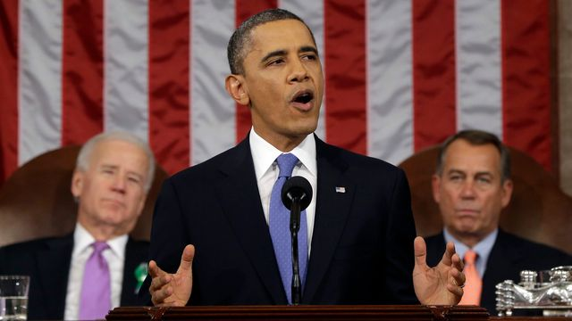 Barack Obama s'est exprimé pendant une heure devant le Congrès. [AP Photo/Charles Dharapak, Pool]